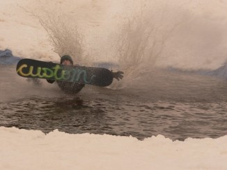 Custom Snowboard going into the drink!