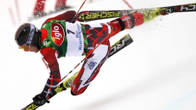 Skiing ABCs F is for Falling -- A skier in midst of a crash