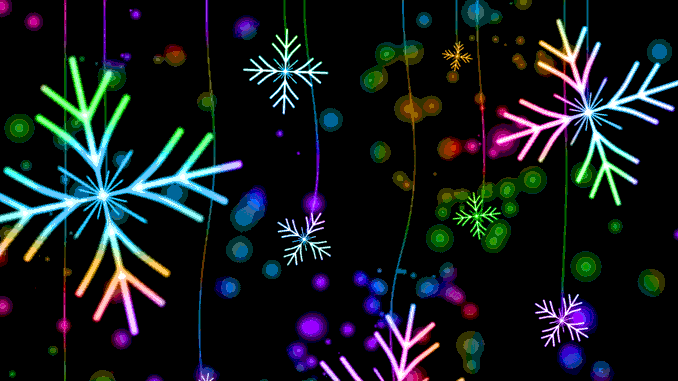 Merry Christmas -- coloful drawaings of snowflakes