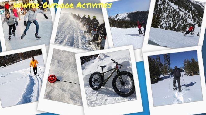Winter Outdoor Activities -- a collage