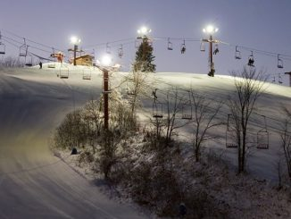 night skiing -- an image of a chair lift on lighted up ski resort at night in South Wisconsin