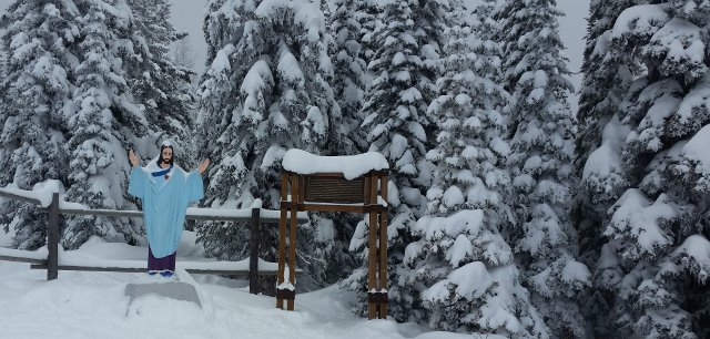 Whitefish Jesus -- Statue of Jessus at Whitefish Ski Resort in Montana