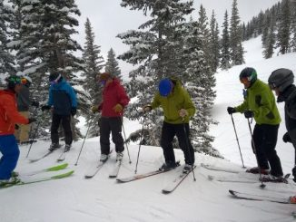 go with a pro -- adults taking a ski lesson surrounded by pine trees