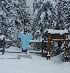 Whitefish Skiing Review -- photo of the statute of Jesus on Whitefish Mountain