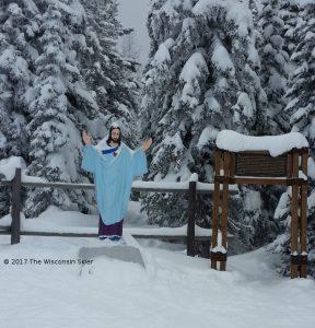 Whitefish Skiing Review -- photo of the statute of Jesus on Whitefish Mountain