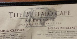 whitefish dining review -- a photo of the bufrfalo cafe menu