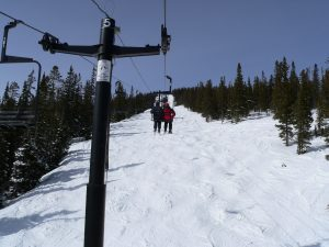 The Skiing ABCs --- M -- a mogul field under a chairlift