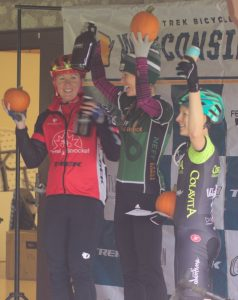 Grafton Pumpkin Cross 2018 -- Winning women cyclists receiving their beer and pumpkin prizes
