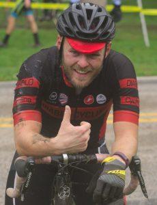 Grafton Pumpkin Cross 2018 -- photo of a bike racer giving the thumbs up.