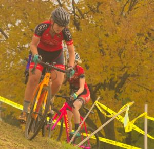 Sunnyview Cyclocross 2018 -- Emily Nordahl about to descend the berm