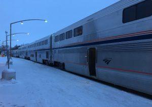 Training to Ski -- the Amtrak Empire Builder train in Minot north dakota
