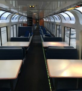 Training to Ski -- the inside of the Empire Builder's observation car
