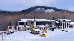 The burned out remains of the Ski Whitecap main lodge