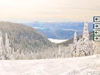 Ski Trail Signs -- a vista view from atop a ski mountain