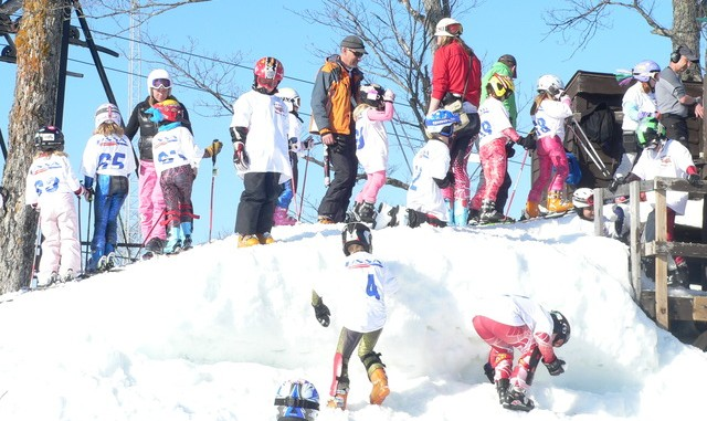 junior USSA ski racers lining up to race at Ski Brule