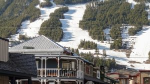SKIING ABCs J -- A photo of Jackson Hole buildings + Ski trails