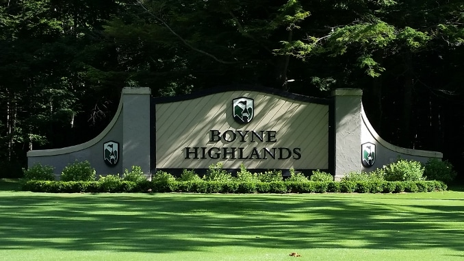 Boyne Highlands Fire -- a photo of the boyne highlands sign