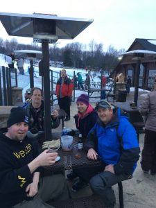 first ski trip -- freinds drinking beer at Granite Peak near main lodge
