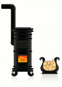 fireplace -- graphic of potbelly stove and firewood
