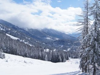 View of Whitefish Mountain Resort -- snow, mountains, blue sky, and clouds